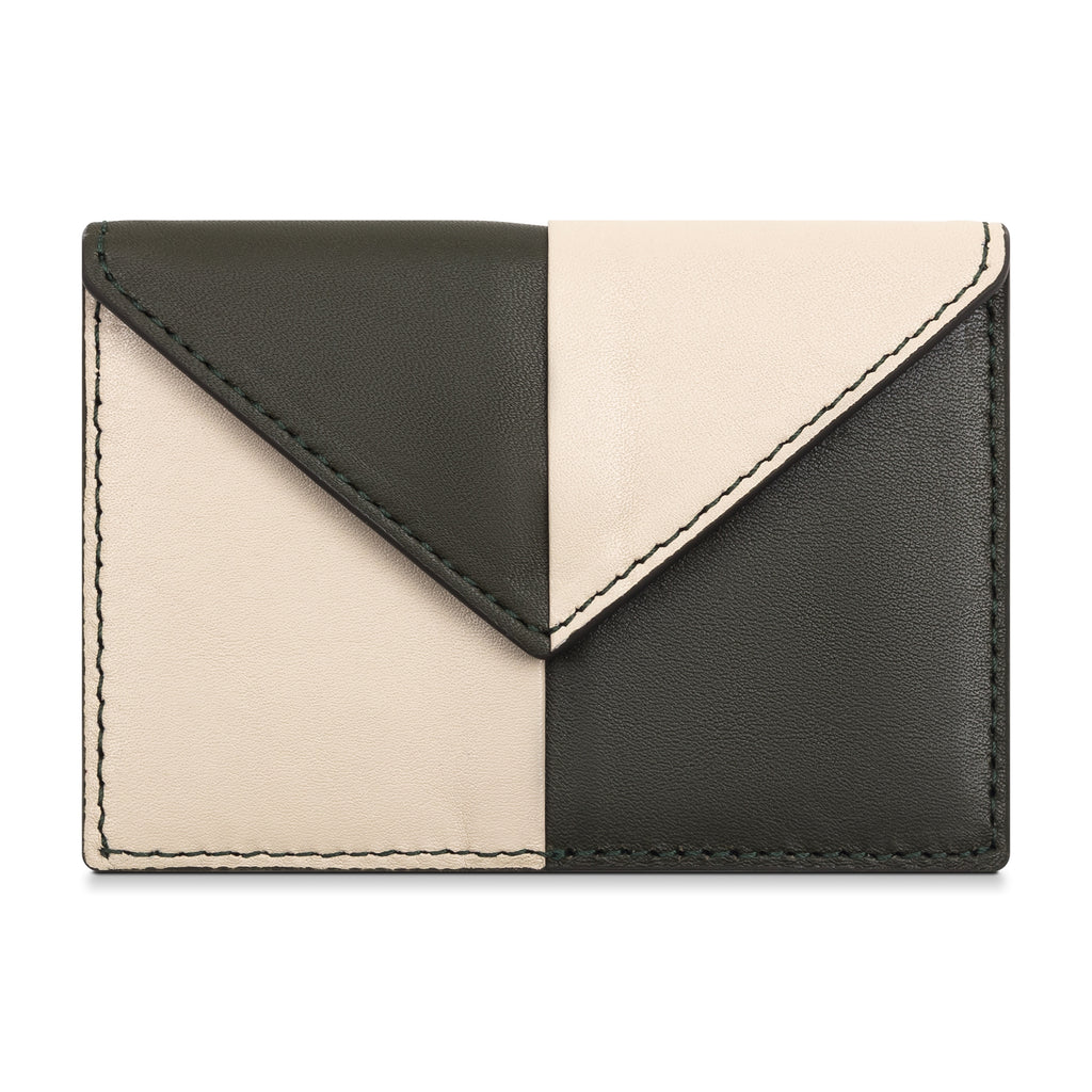 Color Blocked Card Case- Olive