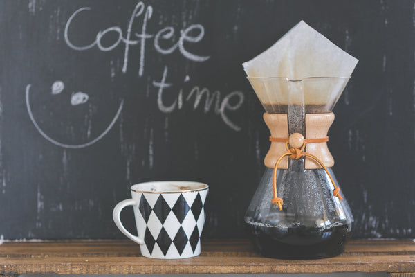 Cute chalkboard with diamond coffee mug and french press