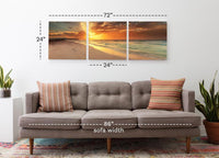 Footsteps in the Sand <h2>3 Panel Beach Panorama Vinyl Photography Print</h2>