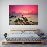 Sunset on the Rocks on Canvas