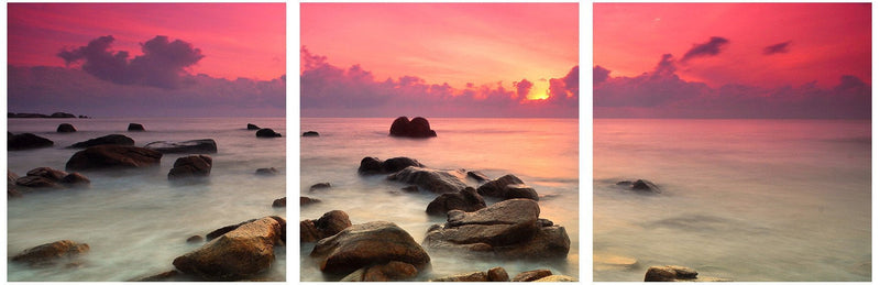 Pink Sunset Over Rocks