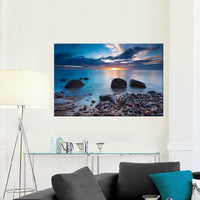 Bluish Sunset <h2>Ocean Panorama Large Canvas Photography Print</h2>