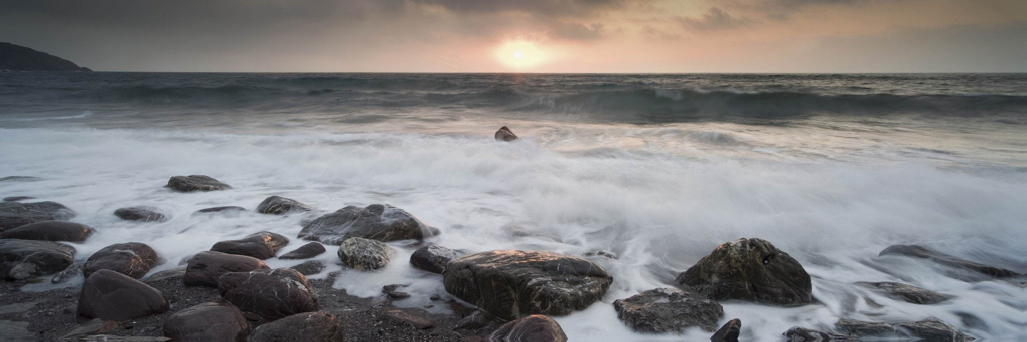 Gray Sea # 2 - Photography Print on Canvas - Canvas Panoramic Wall Art