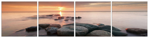 Pink Sunset on Rocks in 4 Panels
