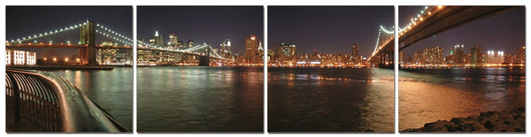 Bridges of New York City at Night in Four Panels