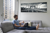 Brooklyn Bridge in Black and White <h2>3 Panel Cityscape Panorama Vinyl Photography Print</h2>