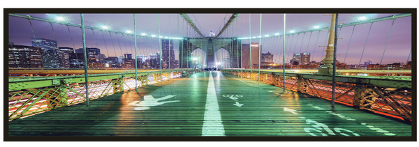 Downtown via Brooklyn Bridge <h2>Framed Cityscape Panorama Canvas Photography Print</h2>