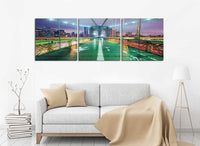 Brooklyn Bridge Lights <h2>3 Panel Cityscape Panorama Vinyl Photography Print</h2>
