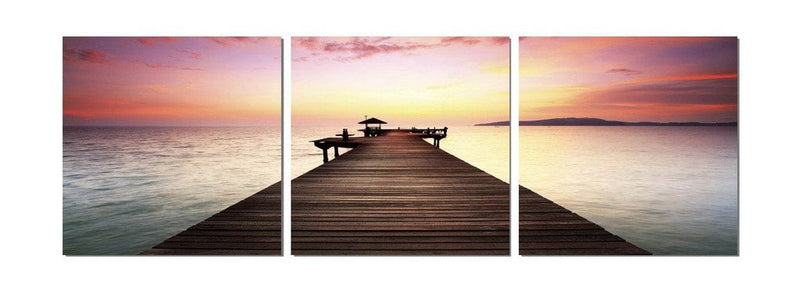 Pier in Silhouette - Photography Triptych Print - 3 Panel Landscape Photography
