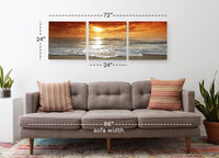 Corsica Sunset <h2>3 Panel Ocean Panorama Vinyl Photography Print</h2>