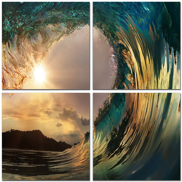 Wave at Sunset in 4 Panels