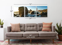Golden Gate Bridge from the Shore <h2>Frameless 3 Panel Cityscape Panorama Canvas Photography Print</h2>