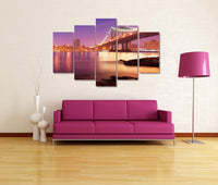 Brooklyn Bridge 5 Panel Color Series <h2>5 Panel Cityscape Panorama Canvas Photography Print</h2>