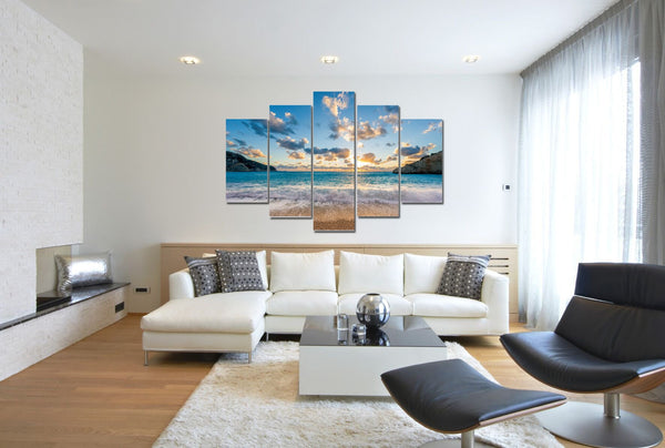 Majorca Shore in 5 Panels on Canvas