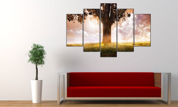 A Man, A Tree <h2>5 Panel Nature Landscape Canvas Photography Print</h2>