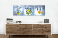 Fruits And Water <h2>3 Panel Vinyl Photography Print of fruits in water</h2>