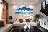 Blue Sky <h2>5 Panel Ocean Panorama Canvas Photography Print</h2>