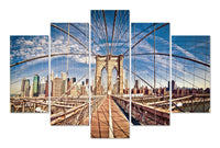 Brooklyn Bridge Daytime in 5 Panels <h2>5 Panel Cityscape Panorama Vinyl Photography Print</h2>