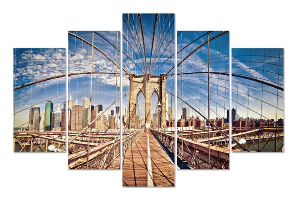 Brooklyn Bridge Daytime in 5 Panel Series
