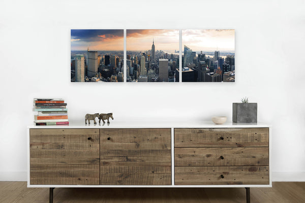 Empire State at Sunset <h2>3 Panel Cityscape Panorama Vinyl Photography Print</h2>