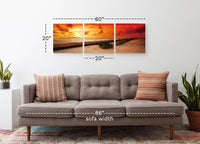 Caribbean Pier by Sunset <h2>3 Panel Ocean and Pier Perspective Panorama Vinyl Photography Print</h2>