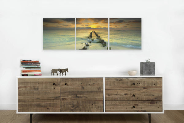 Cancun Pier at Sunset <h2>3 Panel Pier Perspective Panorama Vinyl Photography Print</h2>