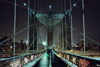 Brooklyn Bridge at Night on Canvas <h2>Cityscape Panorama Canvas Photography Print</h2>