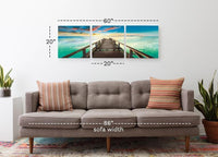 Bright Pier Sky <h2>3 Panel Ocean Panorama Vinyl Photography Print</h2>