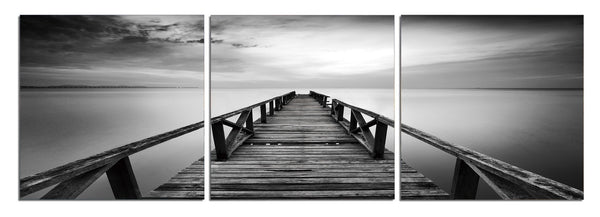 Pier in Chrome - Photography Triptych Print - 3 Panel Landscape Photography