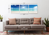 Clear Skies on the Beach <h2>3 Panel Ocean Panorama Vinyl Photography Print</h2>