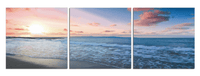 Blue Sunset Calm <h2>3 Panel Ocean Panorama Canvas Photography Print</h2>