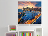 Brooklyn and Manhattan Bridge in New York 4 Panels <h2>4 Panel Cityscape Panorama Vinyl Photography Print</h2>