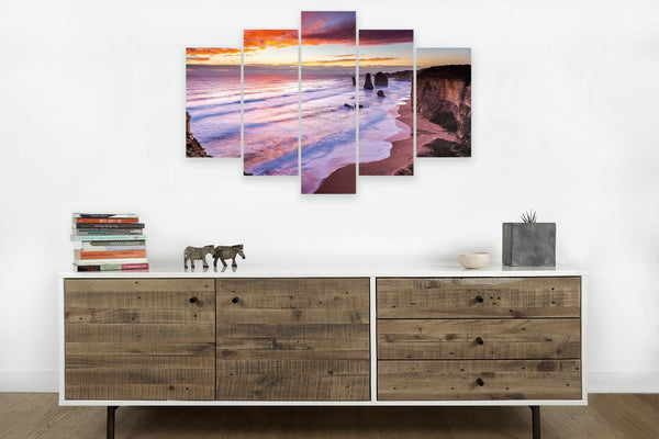 Australia Great Ocean Road <h2>Frameless 5 Panel Nature Landscape Vinyl Photography Print</h2>