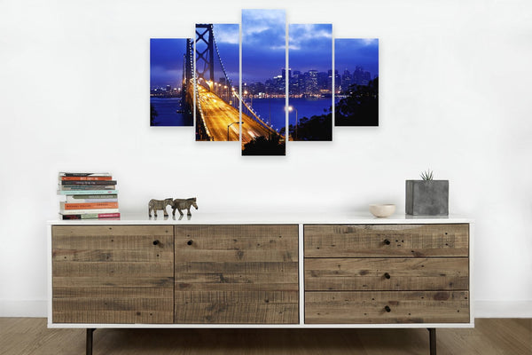 Bay Bridge in 5 Panels <h2>5 Panel Cityscape Panoramic Canvas Photography Print</h2>