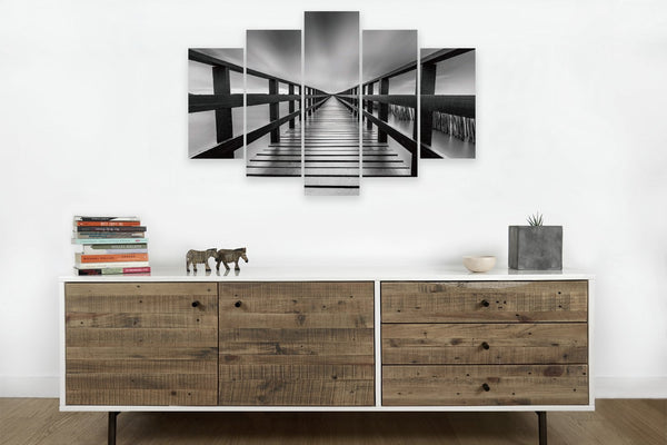 Pier in Chrome in 5 Panels on Canvas