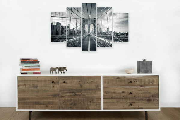 Brooklyn Bridge Black and White 5 Panel Canvas Scene