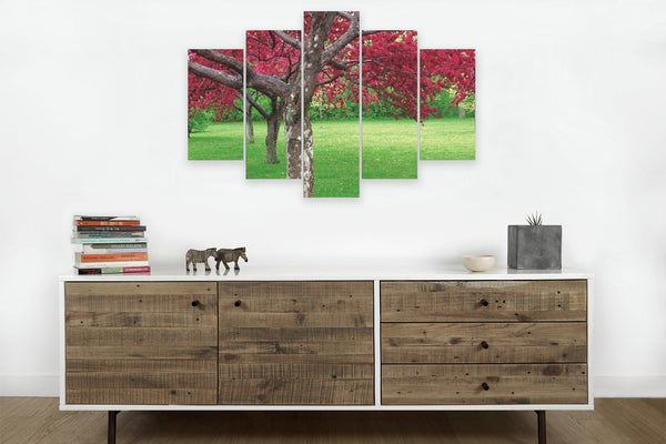 Cherry Blossoms in 5 Panels <h2>5 Panel Nature Landscape Photography Print</h2>