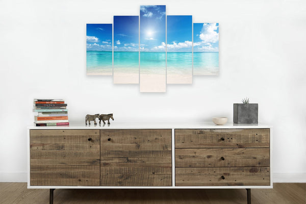 Clear Ocean Day <h2>5 Panel Ocean Panorama Canvas Photography Print</h2>