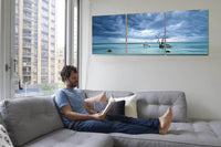Cerulean Silence <h2>3 Panel Ocean Perspective Panorama Vinyl Photography Print. Taken by photographer David Balyeat.</h2>