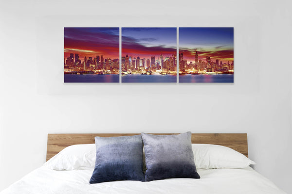 Flickering Skyline in 3 Panels <h2>3 Panel Cityscape Panorama Vinyl Photography Print. Taken by photographer David Balyeat.</h2>