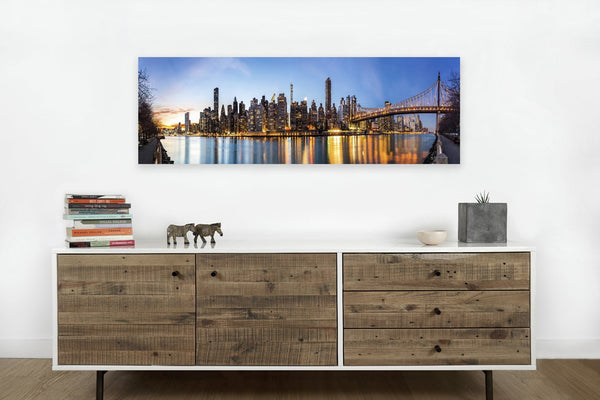 New York Gold Frameless <h2>Frameless Cityscape Panorama Canvas Photography Print. Taken by Photographer Mihai Andritiou.</h2>