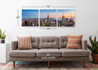 Empire State Building in the Day <h2>3 Panel Cityscape Panorama Vinyl Photography Print. Taken by photographer Mihai Andritoiu.</h2>