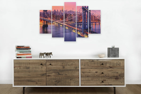 Manhattan Bridge Twilight 5 panel