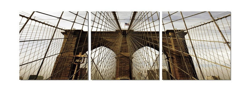 Brooklyn Bridge (Close Up) - Photography Triptych Print - 3 Panel Landscape Photography