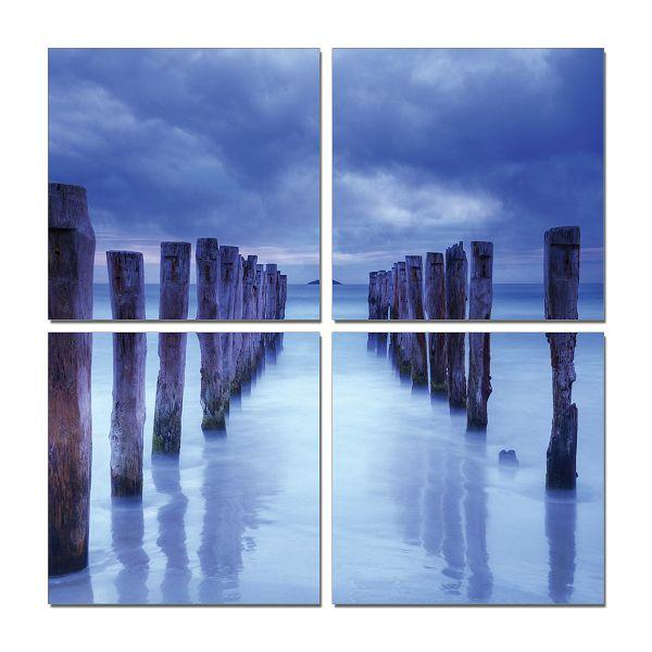 Jetty on the Lake Quadtych Decor Print