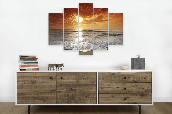 Corsica Sunset on 5 Panels <h2>5 Panel Ocean Panorama Vinyl Photography Print. Taken by photographer Mihai Andritoiu.</h2>