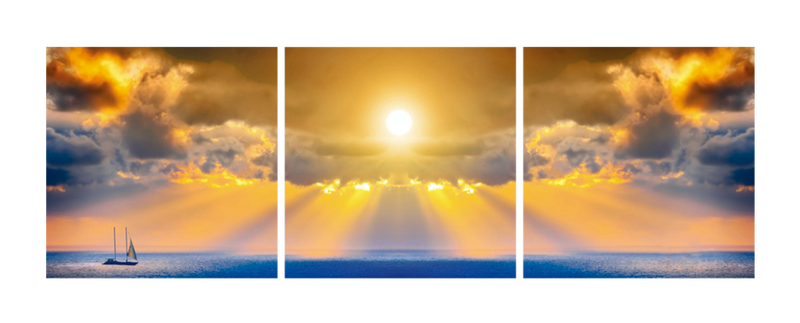 Sun Through Dramatic Clouds - Photography Triptych Print - 3 Panel Landscape Photography