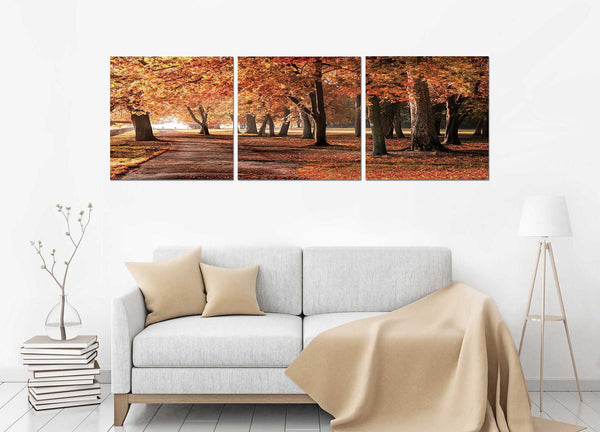 Autumn Field <h2>Frameless 3 Panel Nature Landscape Vinyl Photography Print</h2>