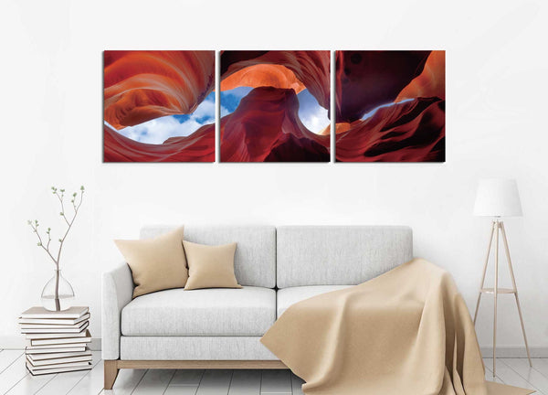 Antelope Canyon Two <h2>3 Panel Nature Landscape Canvas Photography Print. Photo taken by Mike Sherman.</h2>
