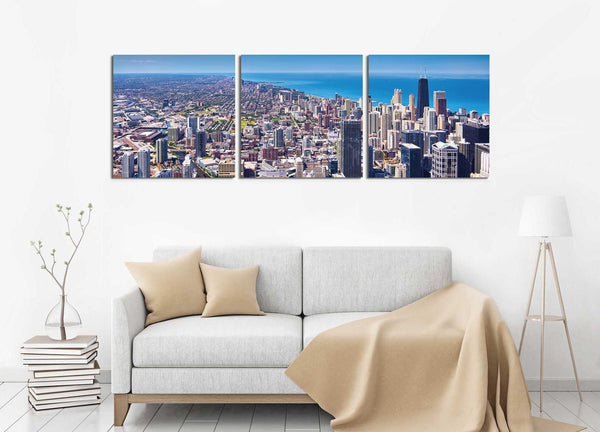 Chicago City of Broad Shoulders in 3 Panels <h2>3 Panel Cityscape Panorama Canvas Photography Print. Taken by Photographer David Balyeat.</h2>